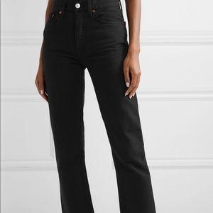 Redone rigid stove pipe straight leg jeans size 28